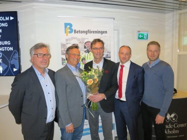 Delar av den nya styrelsen. Från vänster: Richard McCarthy (vd), Göran Andreasson (ny ledamot), Mats Öberg (avgående ordf), Johan Söderqvist (ny ordförande, tidigare vice ordförande) och Jonas Axeling (ny ledamot).