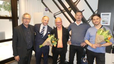 Foto: Från vänster: Richard McCarthy (vd), Johan Söderqvist (avgående ordförande), Michael Åhström (ny ordförande), Henrik Vinell (ny ledamot) och Richard Malm (avgående ledamot).